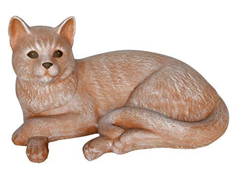 Steinfigur Katze liegend groß - Terrakotta Garten Deko Stein Figur Frostsicher