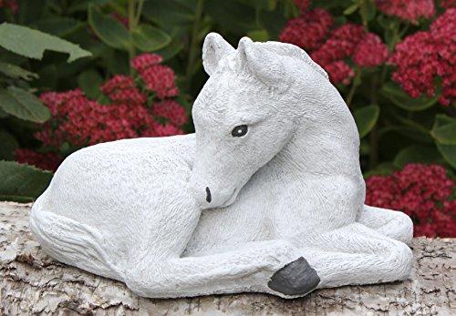 Steinfigur Pferd klein - Antik-Weiss Fohlen Garten Deko Stein Figur