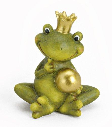 TEMPELWELT Dekofigur Gartenfigur Frosch Froschkönig 15 cm groß aus Keramik grün mit Goldkugel golden witzige Figur Märchenfrosch als Garten Deko in Stein Optik