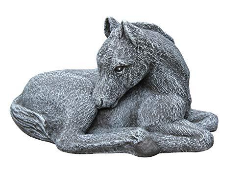Tiefes Kunsthandwerk Steinfigur Pferd klein in Schiefergrau Fohlen Figur Deko