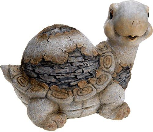 Unbekannt Deko-Figur Garten-Deko Steingut Stein-Figur Dekoration Tier Schildkröte 36x26x27 cm grau braun