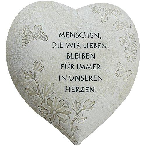 com-four Deko Herz Menschen die wir lieben in Steinoptik als Grabschmuck ca 15 x 15 x 9 cm 01 Stück - Spruch 2