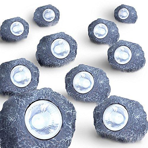 10er Set LED Solar Leuchten Steine Beleuchtung Garten Dekoration Lampen Außenlichter