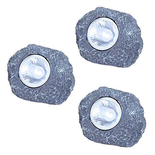 3er Set LED Solar Beleuchtung Steine Garten Dekoration Lampen Außenlichter Leuchten
