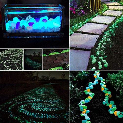 Colorful Leuchtsteine 100 Stkünstliche Kieselsteinleuchtende KieselAquarium Floureszierende Pebbles SteinGarten Gehweg C