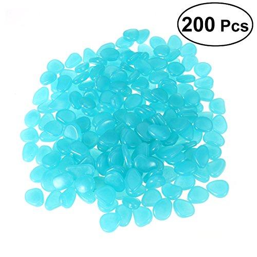 OUNONA 200 stücke Leuchtsteine leuchtende Kiesel fluoreszierende Steine für Aquarium Ggarten Hof Dekorationen blau