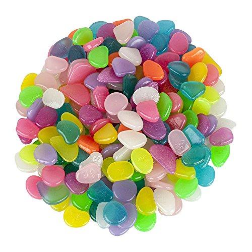vientiane Leuchtsteine 200 Stück Farbe künstliche Kieselstein Nachtleuchtende Steine für Garten Gehweg Yard Gras und Aquarium Fisch Behälter Dekoration Mischfarbe