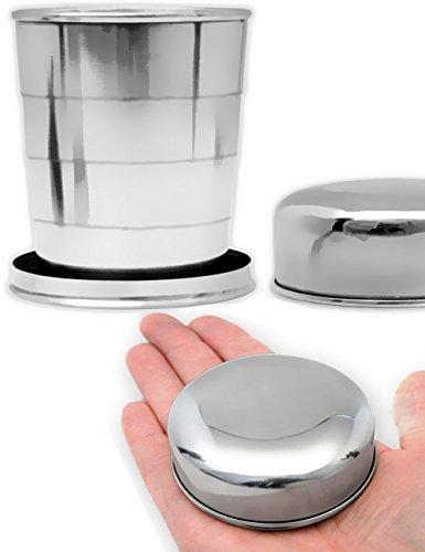Outdoor Saxx Reise-Becher faltbar  Outdoor-Becher Camping-Becher Tasse mit Karabiner klein und kompakt zusammen klappbar  Edelstahl 250ml