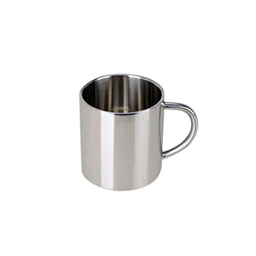 Sharplace Edelstahl Bierkrug Tee Tasse Kaffeetasse Reise Wandern Becher mit Handgriff - Silber 300ml