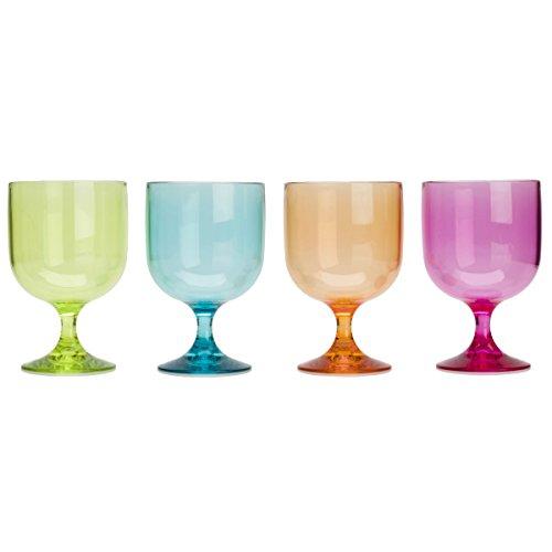 Buntes Acryl Weinglas 200ml 4 Stück Stapelbar Gläser Trink Glas Kunststoff Camping Zubehör Trinkbecher Kelch Becher Trinkglas Trinkkelch Wasserglas Weinkelch Goblet Sektkelch Bruchsicher