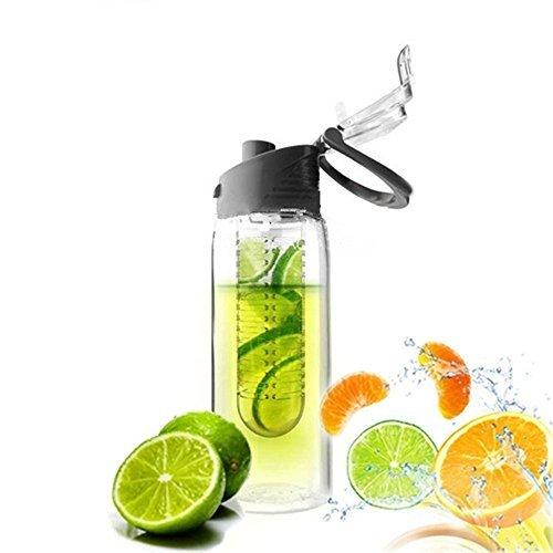 DaWa 1 Stück 800ml Fruit Infusion Wasserflasche für Sport Bio und BPA-freien Kunststoff Becher Schwarz