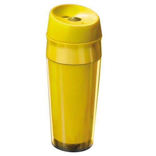 Kunststoff Reisetrinkbecher 04 l gelb auslaufsicherer Deckel Becher Trinkbecher