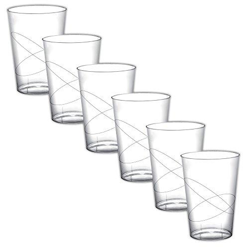 TW24 Becher - Sektflöte Kunststoff - Kelche - Trinkgläser Gartenparty - Trinkgefäße Modellauswahl transparent Glas 6 Stück