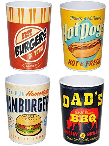 Unbekannt 4 Stück _ 3 in 1 - Trinkbecher  Zahnputzbecher  Malbecher - Becher -  Retro Essen Burger  - 350 ml - Trinkglas aus Kunststoff Plastik Melamin - für Erwa