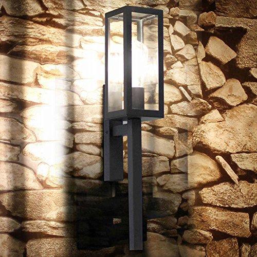 sLUCE Fackel Aussen-Wandleuchte Chalet 55cm Garten Aussen-Wandleuchte Wand-Fackel Schwarz Fassaden-Lampe Fassaden-Leuchte Fackel