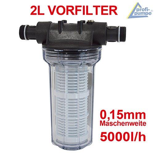 Filter VORFILTER Pumpenfilter 2L für HAUSWASSERWERK HAUSWASSERAUTOMAT KREISELPUMPE JETPUMPE BRUNNENPUMPE PUMPE TAUCHPUMPE FEINFILTERUNG bei WASCHMASCHINEN SCHALTGERÄTEN KREISELPUMPEN