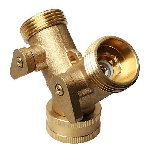 Kuou Messing-Krümmer 19 cm Wasserhahn Y-Splitter Messing-Krümmer Zwei-Wege-Waschmaschinen-Schlauchverbinder