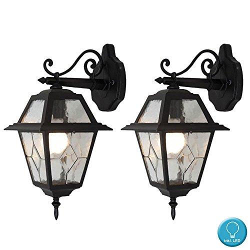 2er Set Retro LED Wand Laternen ALU Fassaden Filament Beleuchtung Garten Hof Glas Lampen schwarz