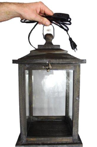 Holzlaterne groß mit Beleuchtung 220V Laterne aus Holz mit Holz - Deko KLG-OFOS-SCHWARZGEBEIZT edel schwarz gebeizt dunkel