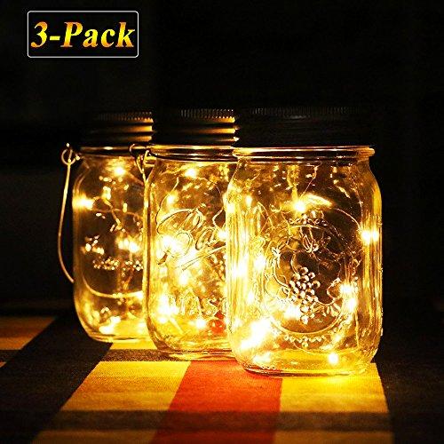 Solar Mason Jar Lichter warm Jar Fairy Lampe mit wasserdicht Mason Jar Deckel outdoor Dekorative Laterne Beleuchtung für Garten Terrasse Weg Baum Urlaub Hochzeit Party Deco Warmweiß-3pcs