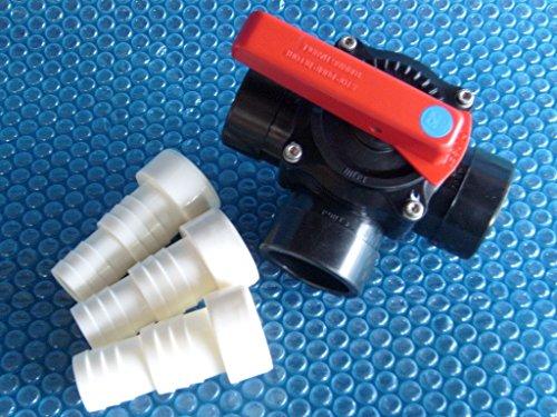 PVC 3-Wege-Zylinderhahn Ventil 5063 mm Kugelhahn inkl 3 Klebetüllen
