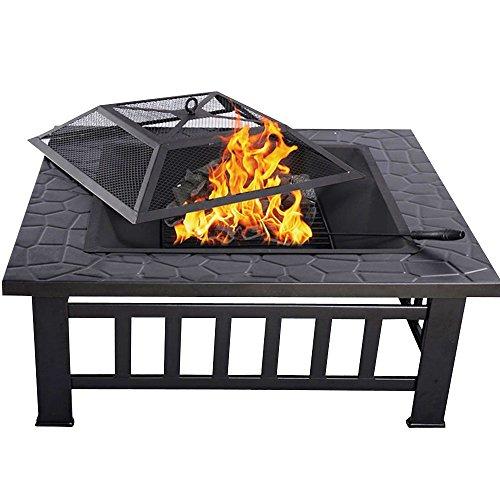 HENGMEI 81x81x45cm Multifunktional Feuerschale Feuerstelle Fire Pit Grillstelle Feuerkorb mit Grillrost Funkenschutz für BBQ HeizungGarten Modell A 81cm
