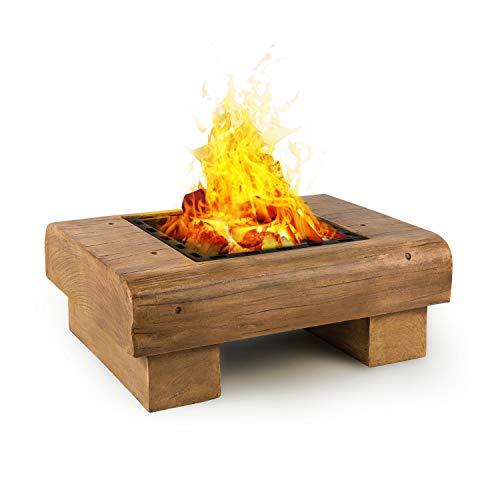 blumfeldt Lombardia • Feuerschale • 40x40 cm Grillrost • BBQ-Pit • Funkenschutz • Magnesium-Oxid-Kunststein MagicMag • sicherer und Fester Stand • inkl Funkenfang und Schürhaken • Holzoptik