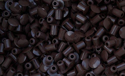 10 Stück Stopfen 5mmLoch x 8mm Abdeckung Dunkelbraun Hartplastik