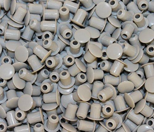 10 Stück Stopfen 5mmLoch x 8mm Abdeckung Lichtgrau Hartplastik