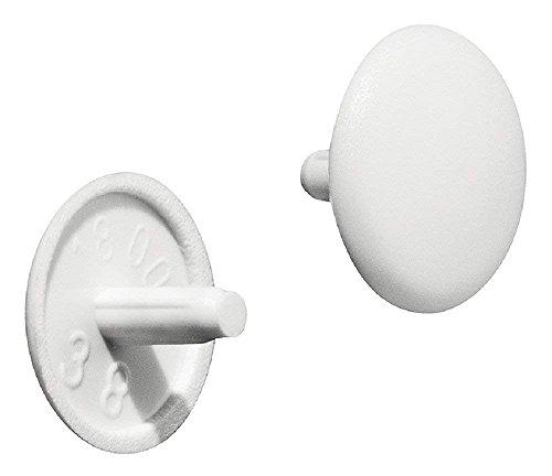 Gedotec Möbel-Abdeckkappen weiß Schrauben-Abdeckungen Kunststoff Schrauben-Kappen rund  H1123  für Kopflochbohrung  Ø 12 x 25 mm  20 Stück