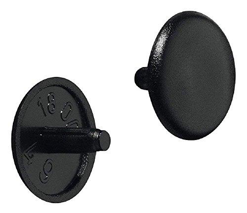 Gedotec Schrauben-Kappe rund Möbel-Abdeckkappen Kunststoff Schrauben-Abdeckungen schwarz  H1115  für Kopflochbohrung PZ2  Ø 12 x 25 mm  50 Stück