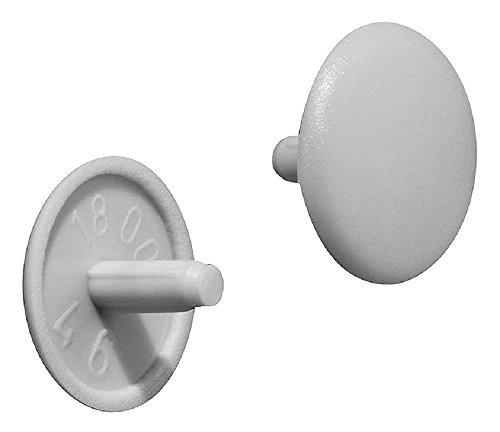 Gedotec Schrauben-Kappen grau RAL 7035 Schrauben-Abdeckungen Kunststoff Möbel-Abdeckkappen rund  H1115  Verschluss-Stopfen für Kopflochbohrung PZ2  Ø 12 x 25 mm  20 Stück