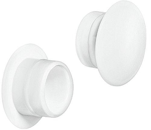 Gedotec Möbel-Abdeckkappen Kunststoff Schrauben-Kappen rund Schrauben-Abdeckungen weiß - H1117  Ø 12 mm  für Blindbohrung  100 Stück