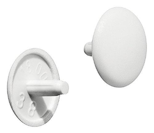 Gedotec Möbel-Abdeckkappen weiß RAL 9010 Schrauben-Abdeckungen Kunststoff Schrauben-Kappe rund  H1123  Verschluss-Stopfen für Kopflochbohrung PZ2  Ø 12 x 25 mm  100 Stück