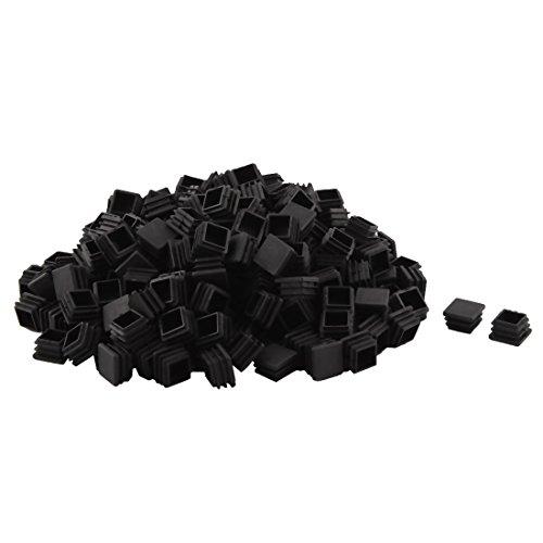 sourcingmap 250 Stk Kunststoff quadratische Tisch Stuhl Füße Rohr Einsatz Kappen Abdeckungen Schwarz 20 x 20mm