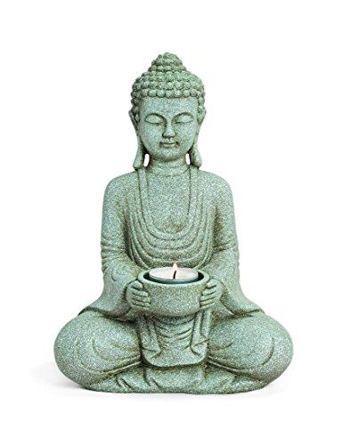 Deko Figur Buddha Gautama sitzend mit Teelichthalter 27 cm groß aus Polystein grau Stein Optik Medizinbuddha Buddhafigur Siddharta