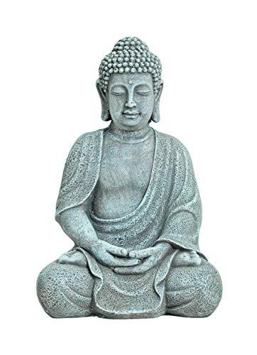 WOMA Deko Buddha Figur Sitzend aus Wetterfestem Magnesia Dekoration für Haus Wohnung und Garten 30cm hoch Skulptur für Innen und Außen Grau