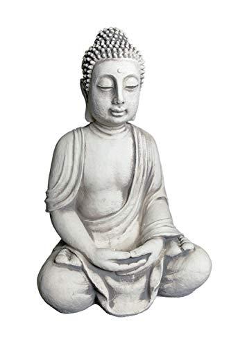 Wunderschöner riesiger Stein Buddha - Figur Feng Shui aus Steinguss frostfest