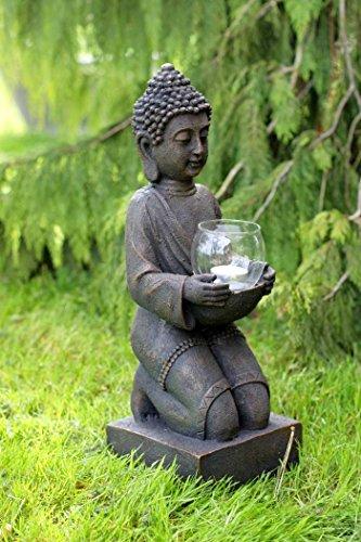 condecoro Buddha Figur Skulptur Gartenfigur Dekofigur mit Windlicht Vintage Landhausstil