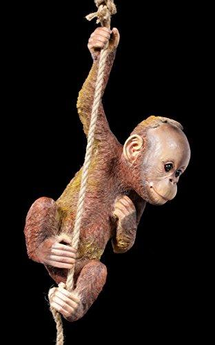 Affe zum Hängen Gartenfigur - Baby Orang-Utan am Seil  Statue Deko Garten Figur