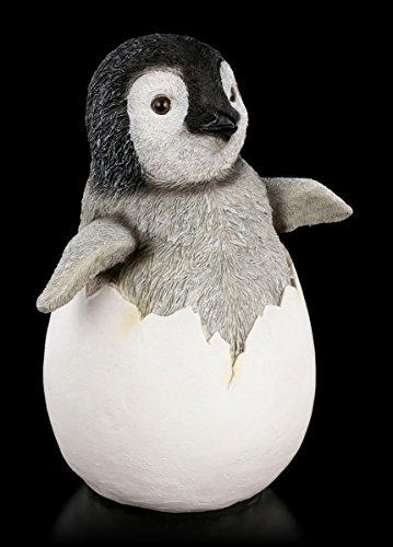 Pinguin Garten Figur - Königspinguin Baby im Ei  Garten Statue Deko Vogel