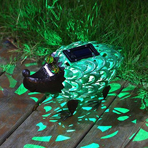 Takemeuro Solarleuchten Statue Outdoor Decor Niedliche Igel Solar Licht Figuren Deko Metall Warm Weiß LED Deko Lichter für Terrasse Rasen Party