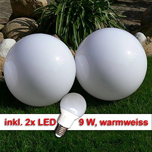 LED Kugellampe 2 x 30cm Set Kugelleuchte incl 9 Watt LED Leuchtmittel E27 warmweiss Gartenkugel Leuchtkugel für Aussen Kugellampen Set für den Garten