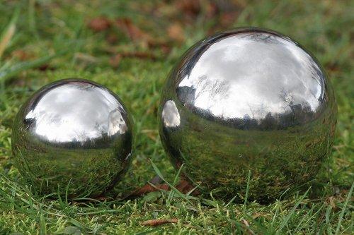 Dekokugel Gartenkugel Galaxy in silber aus Edelstahl 1 Stück Ø ca 13 cm